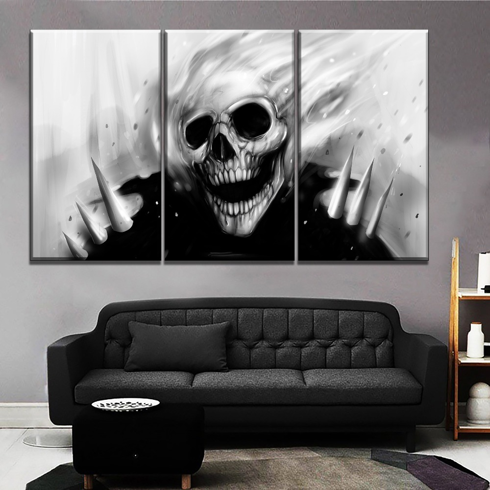 SKULL GHOST HALLOWEEN ABSTRACT MODERN DESIGN CANVAS WALL PICTURE AB595 UNFRAMED