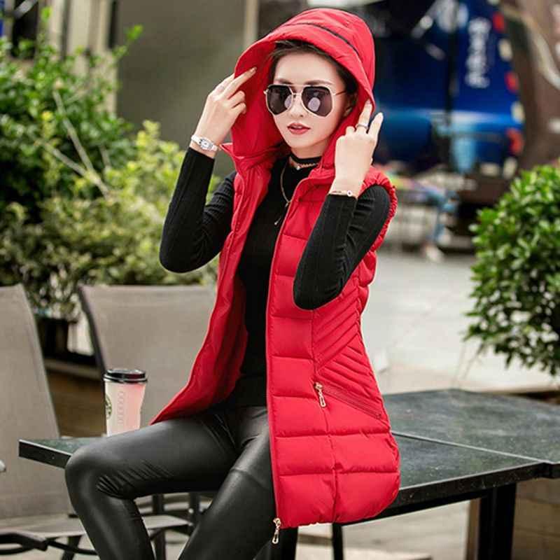 Herbst Winter frauen Weste 2019 Arbeiten Mit Kapuze Frauen Baumwolle Jacke Schlank Mit Kapuze Damen Mantel Feste farbe Weste Oberbekleidung LY109