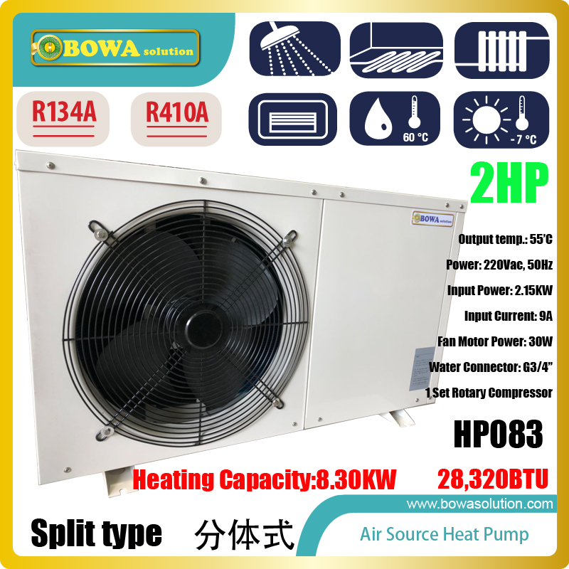 2P split type Hi-COP heat pump water heater work together with plate heat exchanger to heat 100sqm floor directly, easy solution b3 026b 26d copper brazed stainless steel big hole type plate heat exchanger for heating equipment and water chiller 7kw r22