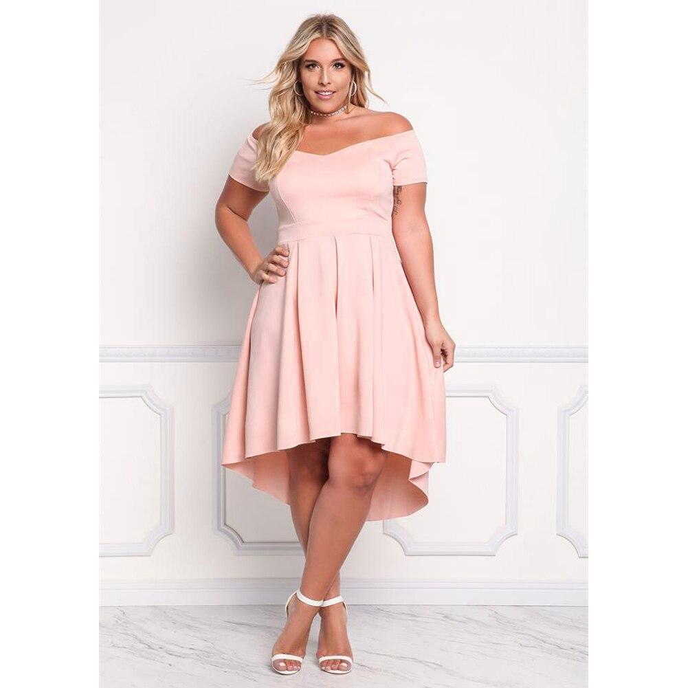 e1c38301e Plus Size Women Off Shoulder Summer Dress Irregular Sexy Ruffle Elegant  A-Line Midi Party