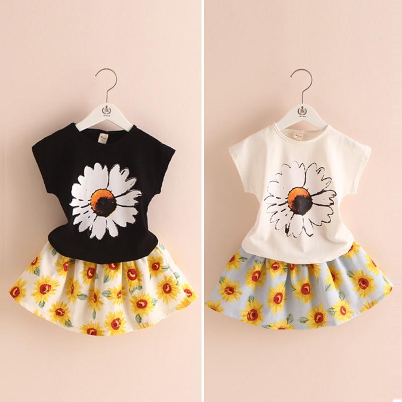 dfb3e44fdc56a Sunflowers الأميرة بنات ملابس الاطفال ملابس الصيف مجموعة تي شيرت + تنورة الأطفال  الملابس الجديدة 2017 t1 2291DAE