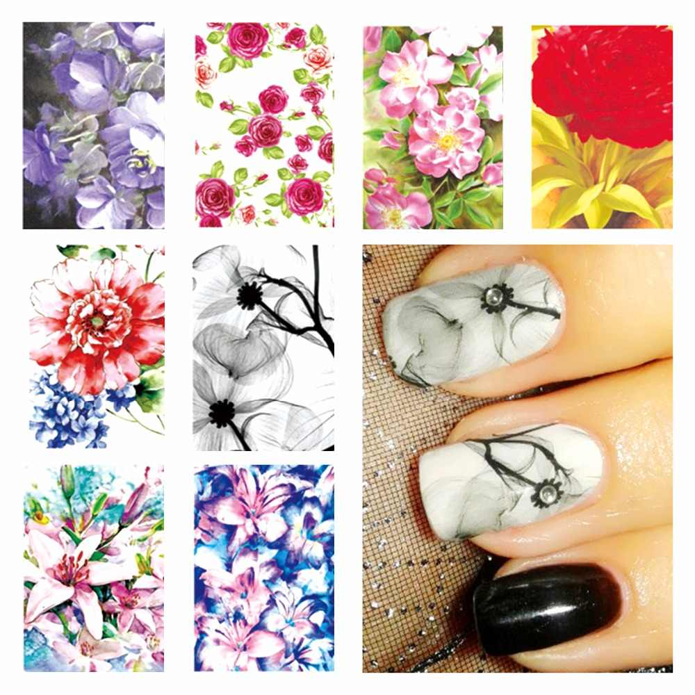 WUF 1 Sheet Optional New Fashion Chic Flower Pattern DIY Water Transfer Nail Art Stickers Decals Wraps Beauty Nails Styling Tool