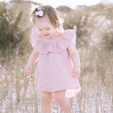 2018 Style New child Child Gown Toddler Bebes Summer season Ruffled Sleeve Deer Printed Princess Women Social gathering Gown Youngsters Garments