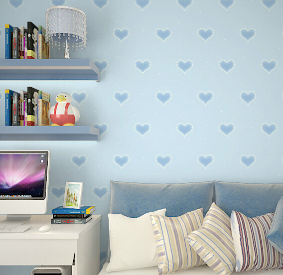 2016 new hot selling girl cartoon non-woven wallpaper children room Children bedroom male love pink house wall stickers