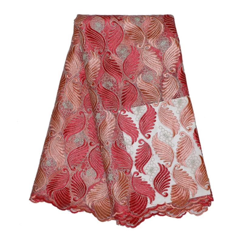 ᐊLo nuevo de color rosa y color rojo bordado tulle tela de malla ...