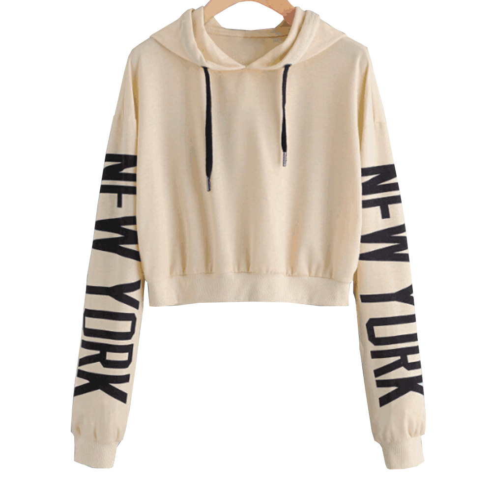 Women Fashion Casual Loose Punk Hooded Hoodie Long Sleeve Stylish Crop Top Spring Autumn Thin ...