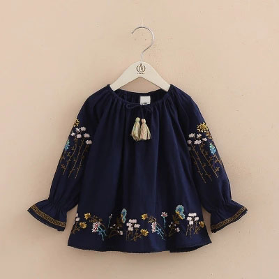 Spring Summer Baby Girls Flower Embroidered Shirts Kids Long Sleeve Lotus Leaf Clothes Cotton Casual Blouse adiors long side parting curly purple ombre lolita synthetic wig