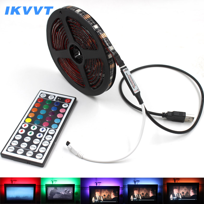 IKVVT USB LED Strip String Lights Tape Lamp 5050 SMD RGB USB Cable 44k Remote Controller for LCD Monitor TV Background Light set