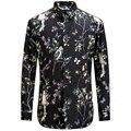 2017 Птицы Цветок Печати Рубашка Мода Повседневная Дизайнерский Бренд Мужчины Camisa Социальной Masculina T0154