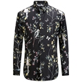 2017 Birds Flower Printing Shirt Fashion Casual Designer Brand Men Camisa Social Masculina T0154