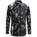 2017 Birds Flower Printing Shirt Fashion Casual Designer Brand Men Camisa Social Masculina T0154