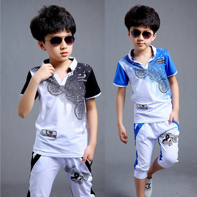 a47c84877 2016 Big Boys Children's Clothing Sets ( T-Shirts + Pants ) Kids Motorcycle  Short-sleeved T-Shirt Polo Shirts Calf-Length Capris