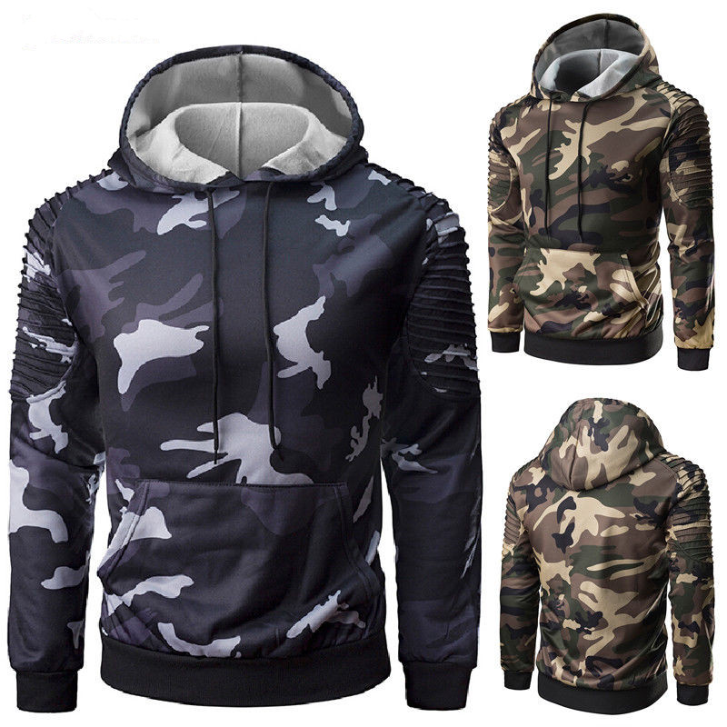 Hooded Sweatshirt Tracksuit Long-Sleeve Casual Male Camouflage-Color M-2XL