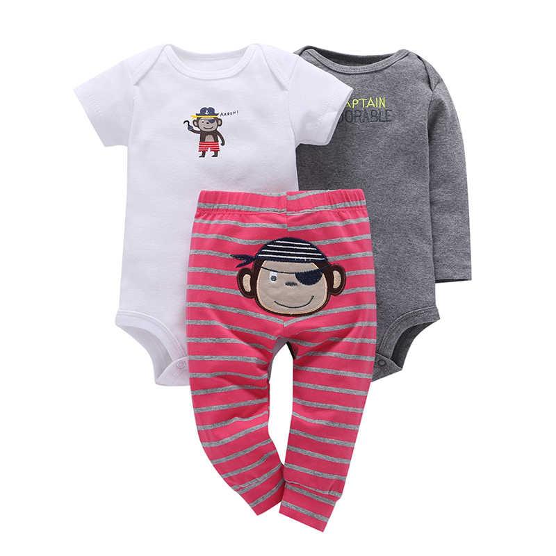 f6359567dbaa1 ... Newborn set 3PCS infant Baby Clothing suit cotton long sleeve o-neck  rompers+pant ...