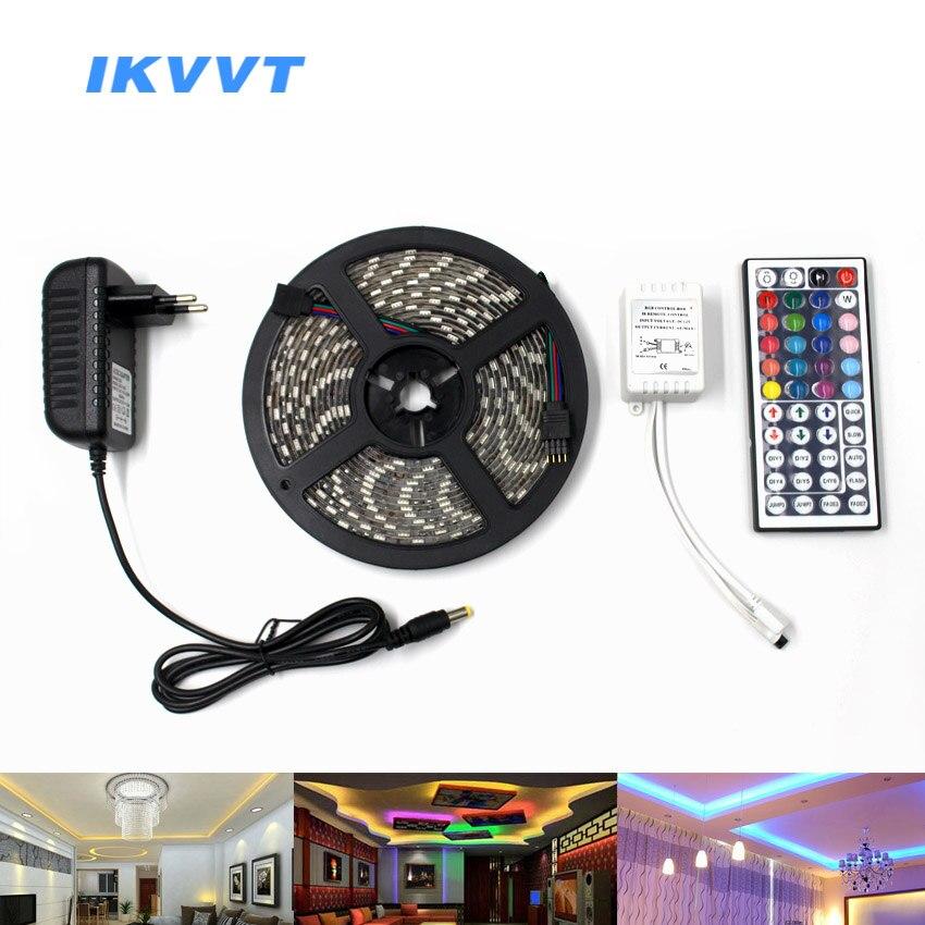 IKVVT RGB LED Streifen Licht Kit SMD5050 30 leds/m 60 leds/m 12 v LED Neon Licht band Lampe 44 Schlüssel IR-Fernbedienung + Power Adapter