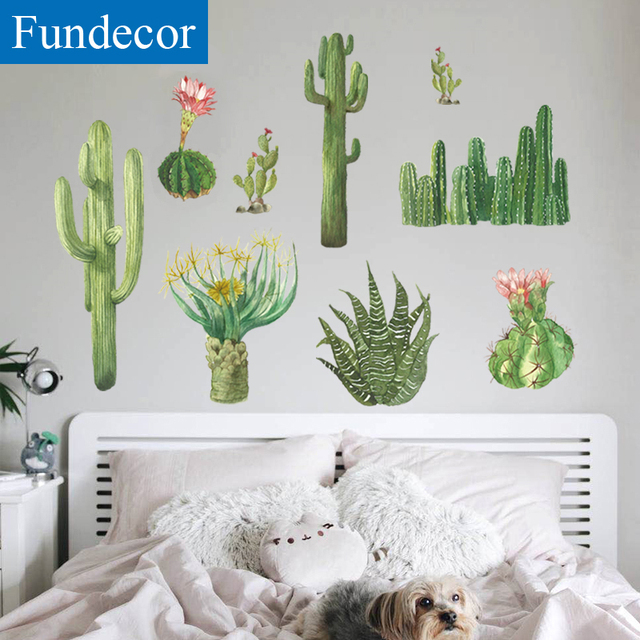 Fundecor Cactus Wall Stickers Home Decor Living Room Bedroom Bathroom Window Decals Diy