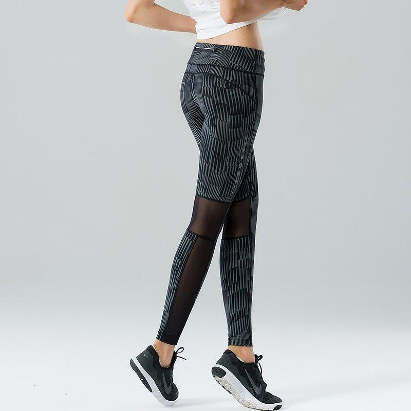 U Фитнес леггинсы Для женщин бег брюки Высокая Талия 3 м светоотражающие Дизайн серый полосы сетки Панель спортивные тренировочные штаны дл...