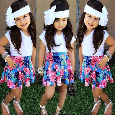 Children Kids Baby Girls Floral White Skirt Tops Shirt Skirt font b Suit b font 2pcs