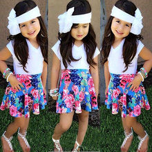 Children Kids Baby Girls Floral White Skirt Tops Shirt+Skirt Suit 2pcs Outfits Set Clothes