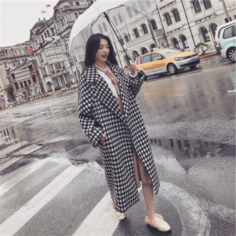 Abrigo Mujer Limited Coat Sobretudo 2018 New Korean Version Long Thousand Bird Loose For Cocoon Type Over Knee Thickened Check