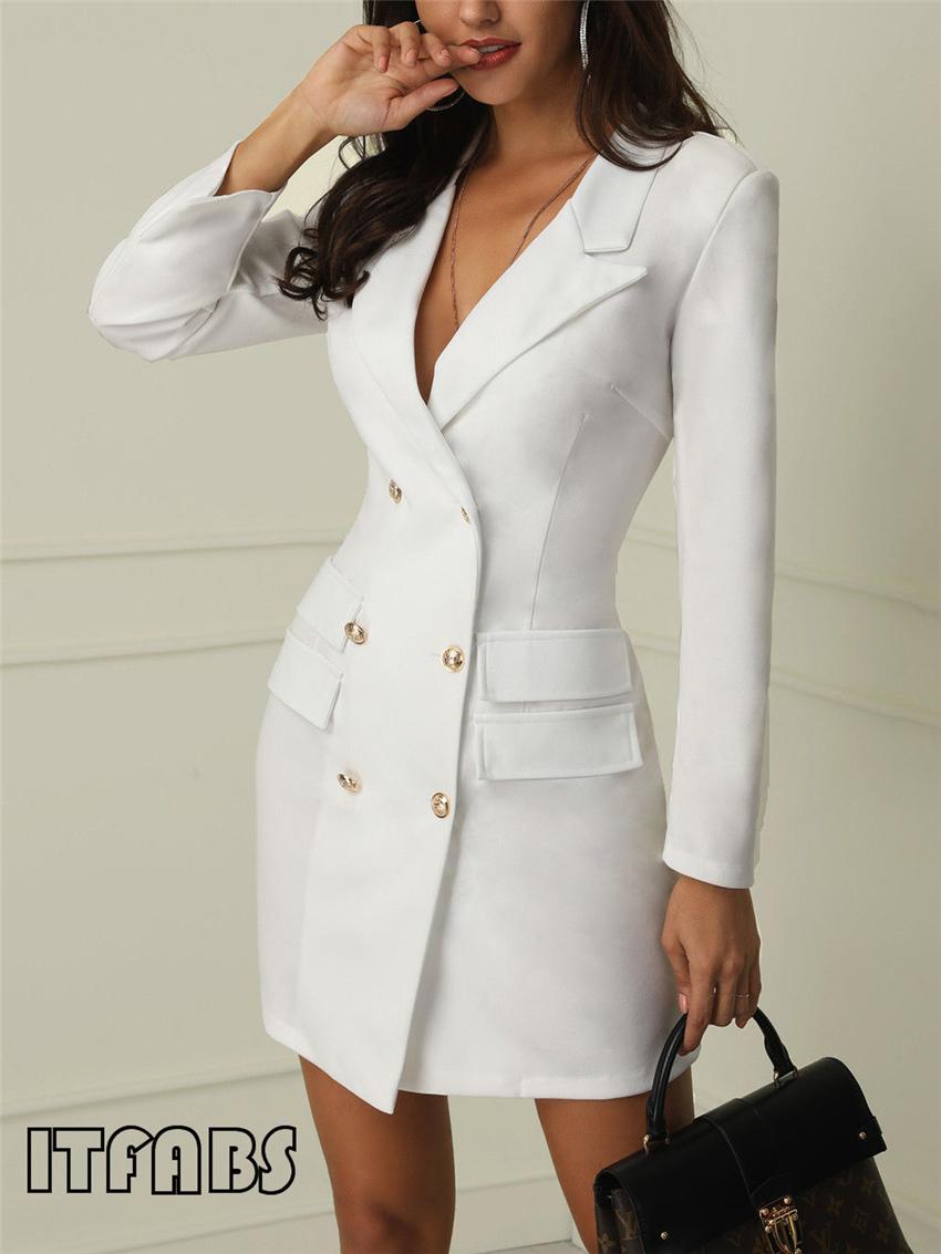 Women business Sexy Casual outwear women slim Button business dress women 4
