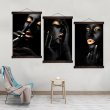 Smoking Makup Kiss Girl Vintage Scroll Canvas Painting Frame Art Posters and Prints Poster Wall Pictures for Living Room