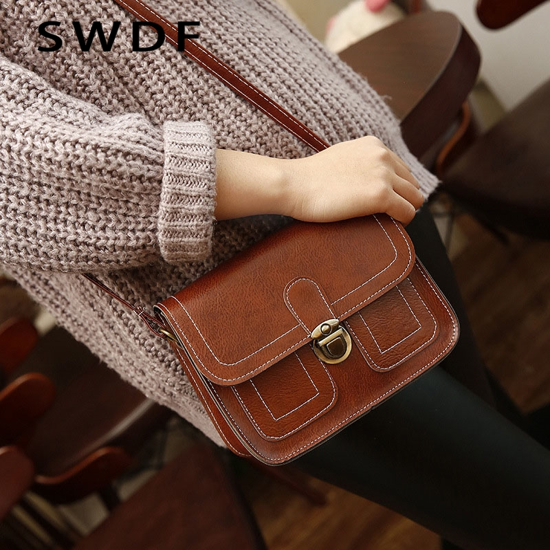 DAUNAVIA 2018 New Korean Version The Small Square Women Bag Fashion Handbags Retro Shoulder Bag Messenger Bag Mobile Phone Bag 2018 new female korean version of the bag with a small square package side buckle shoulder messenger bag packet tide