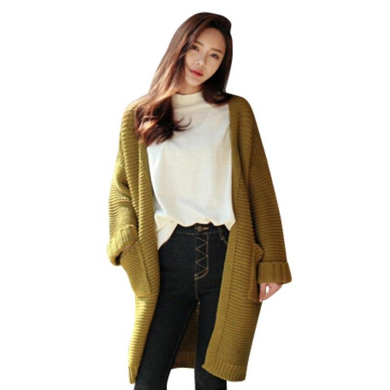 Women Long Sweater Cardigan Fashion Autumn Winter Long Sleeve Loose Thick Knitted Long Cardigan Women Sweaters Coats
