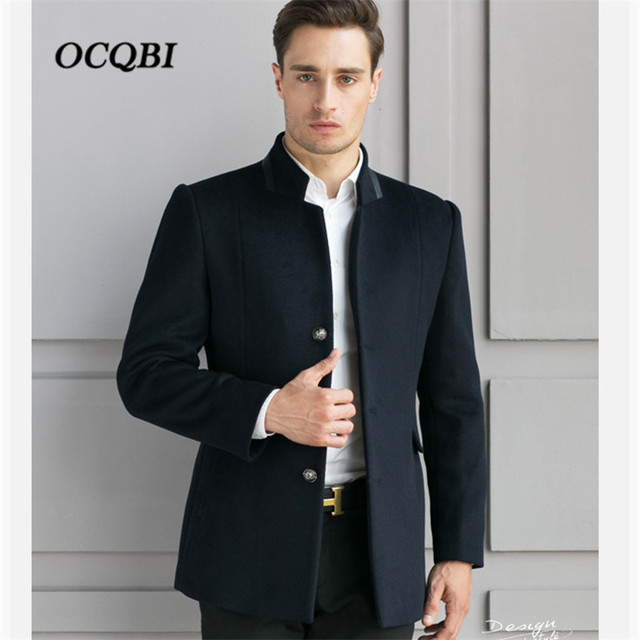 697c0ac73f 2018 Smart Casual Formal Wool Mens Clothing Overcoats Fashion Winter Dress  Coat Mens Plus Size