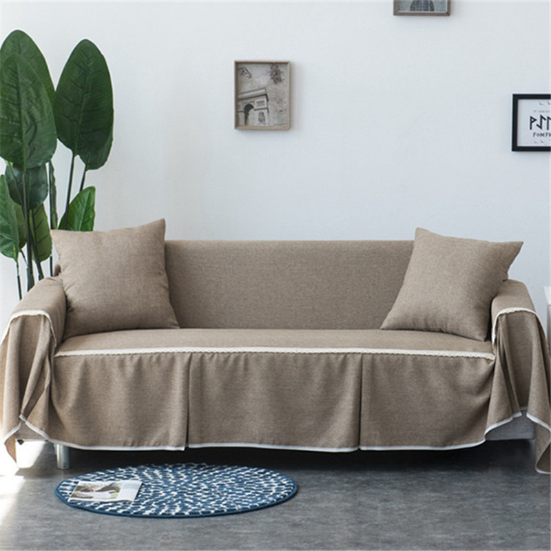 1pc Solid Color Fabric Sofa Cover Universal Sofa Towel All