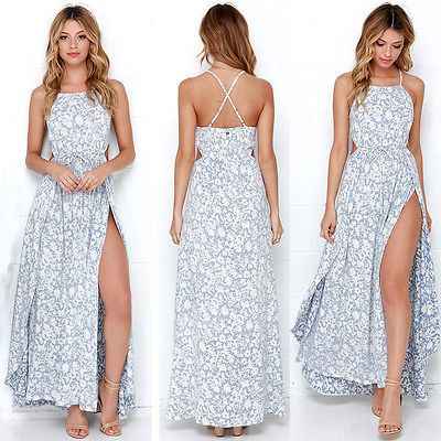Women Summer Boho Long Maxi Party Beach Dress Evening Floral Dresses Ladies Womens Print Flower Sundress