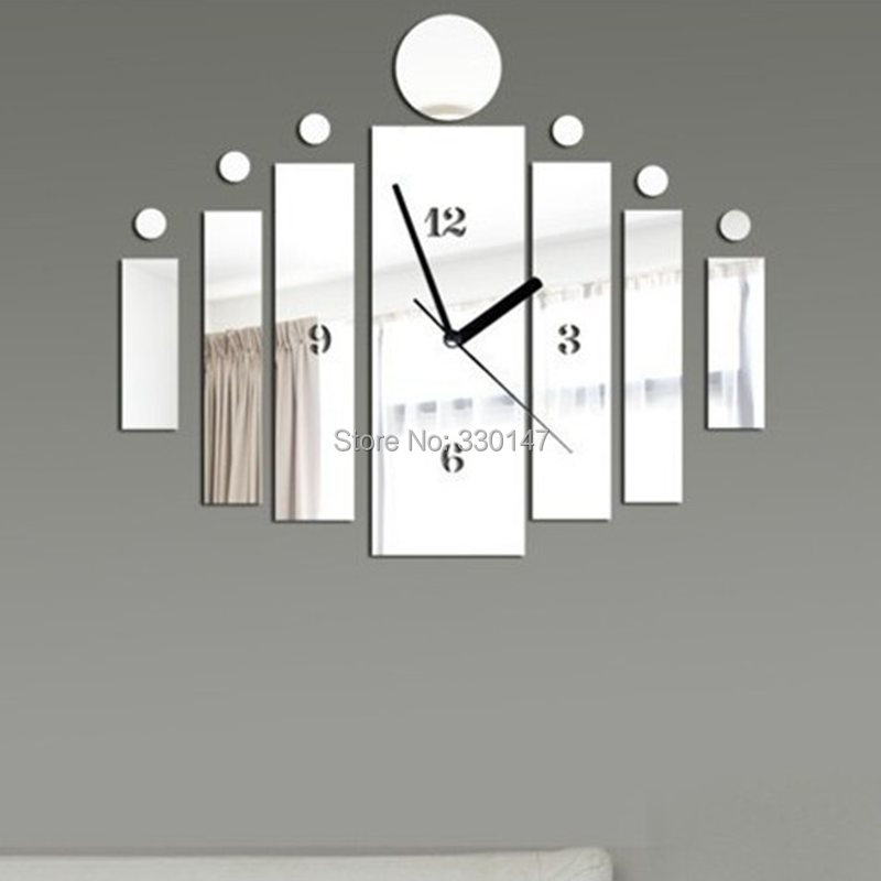 BAR Design 3D Watch Square Mirrored Decorative Acrylic Mirror Wall Clock DIY Home Decor Direct