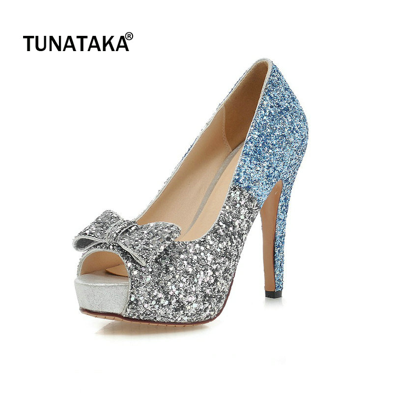 Bling Platofrm Thin High Heel Woman Pumps Fashion Bow Knot Dress High Heel Shoes Woman Blue Pink Gold newest solid flock high heel pumps woman