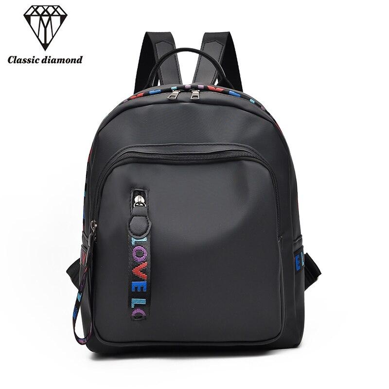 0664710dd Nueva moda de viento de la Universidad Mochila para mujer Mochila para la  escuela de chicas adolescentes elegante bolso de escuela de mujer Negro  Mochila en ...
