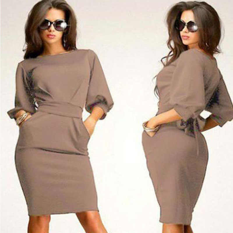 CHAMSGEND 1PC Womens Working Half Sleeve O-Neck Sheath Casual Office Slim Dress Drop Shipping 4F11*