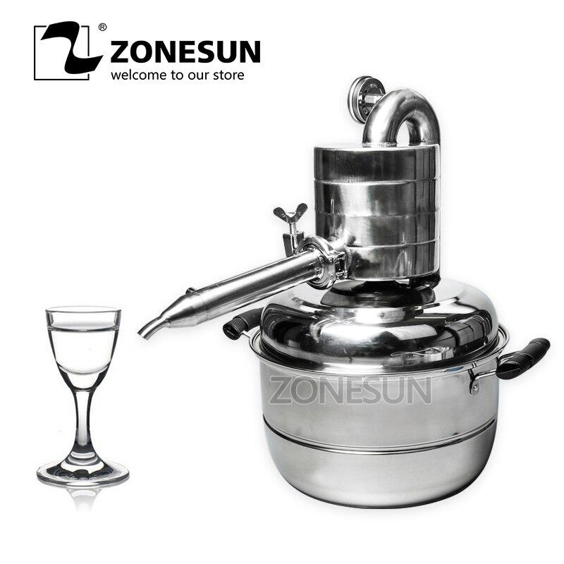 ZONESUN 10L Vino Distillatore Olio Essenziale Distillatore Set utensili da Bar Famiglia Impianto di Acqua di Caldaia di Vino Liquore Caffè Alcool Birra
