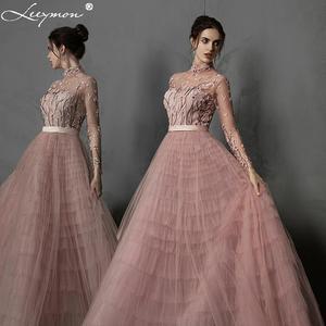 Image 1 - Leeymon Pink Ruffle Tulle Evening Dress High Neck Long Sleeves Embroidery beaded Vestido de Noche Formal Dress