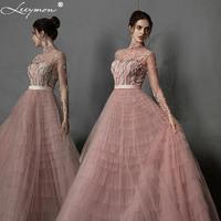 Leeymon Pink Ruffle Tulle Evening Dress High Neck Long Sleeves Embroidery beaded Vestido de Noche Formal Dress