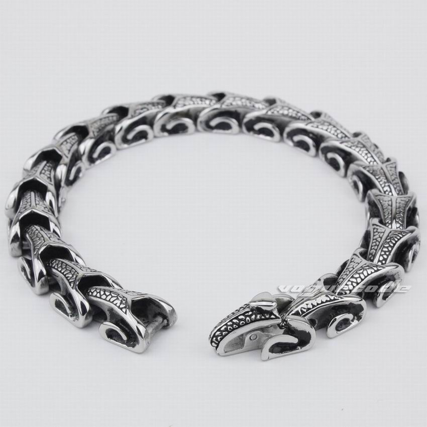LINSION 316L Stainless Steel Mens Dragon Bracelet Biker Rock Punk Link Chain 5A001 Free Shipping opk biker 316l stainless steel mens bracelet fashion sports jewelry bike bicycle chain link bracelet casual jewellery gs781