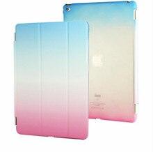 Venta caliente para el ipad 2/3/4 retina smart case cubierta ultra diseñador delgado tableta cubierta de cuero para apple ipad2 colorido del arco iris case