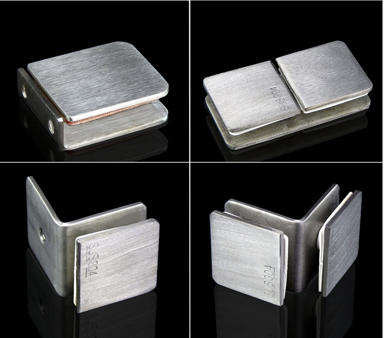 2Pcs/Lot Brush 304 Stainless Steel 8-12MM Preminum Square Glass Clip Clips Clamp Shower Box