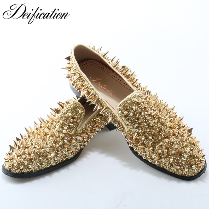 Deification Fashion Man Wedding Shoes Split Leather Spiked Men Loafers Shoes Slip On Rivets Studded Men Shoes Driving Moccasins