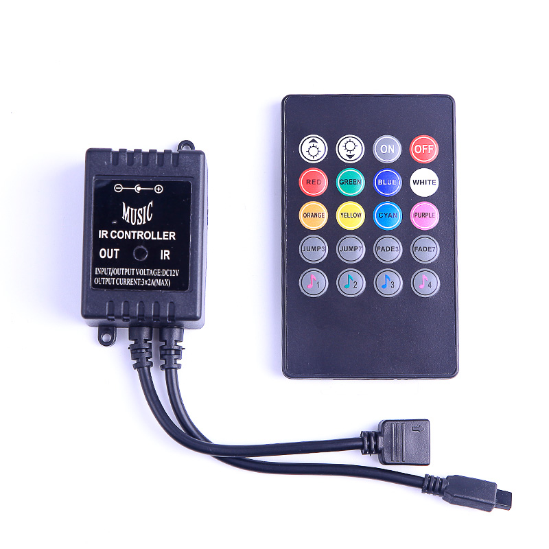 DC12V 6A 20Key Music IR Remote Controller LED Lights Controller Dimmer For SMD 3528 5050 2835 3014 RGB LED Strip in RGB Controlers from Lights Lighting