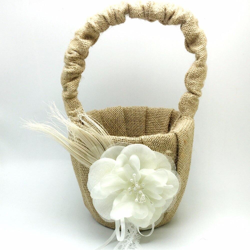 4 pièces/ensemble Vintage hesse toile de jute mariage livre d'invité et ensemble de stylo et anneau oreiller et panier avec fleur plume fournitures de décoration de mariée - 5