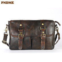 PNDME fashion vintage high quality first layer cowhide men's messenger bags simple daily soft genuine leather large shoulder bag