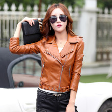 2016 leather clothing female short design PU leather coat slim  patchwork leather jacket 6603