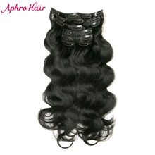 Aphro Hair 7pcs/set 70g Clip in Hair Extensions Peruvian Body Wave Non-Remy Hair Jet Black #1 Color 100% Human Hair Extensions