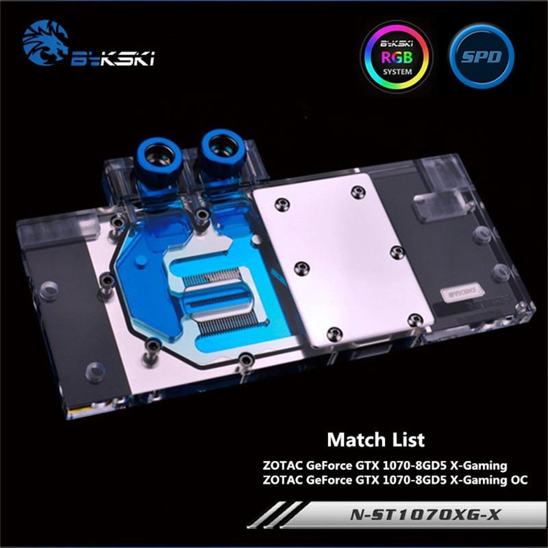 Bykski Full Coverage GPU Water Block For ZOTAC GTX1070 X GAMING OC Graphics Card Water-Cooled head N-ST1070XG-X a as39x x 390 strix r9 390x full coverage water cooled head water jacket