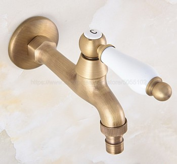 Bathroom Faucet Luxury Antique Brass Water Tap Decorative Outdoor Faucet Garden Bibcock Tap Bathroom Washing Machine zav311 bibcock faucet for outdoor garden brass antique bronze washing machine faucet wall mounted bathroom tap toilet cold bibcock