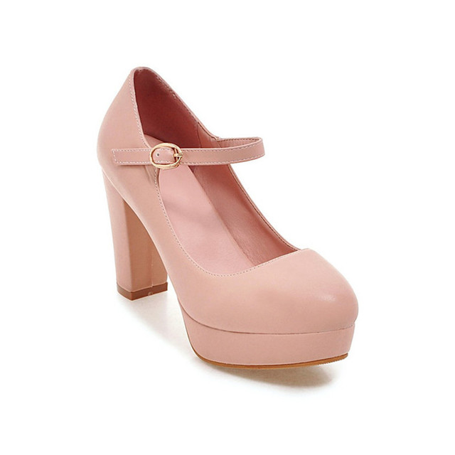 732ddd1dd1 Wedding Mary Jane Pumps Women Round Toe Shoes Block Heel Spring Low  Platform Thick High Heel Pumps Pink White Beige Black